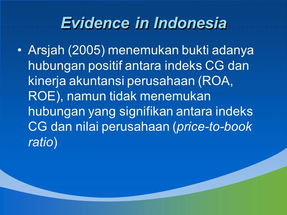 Evidence in Indonesia Arsjah (2005) menemukan bukti adanya hubungan positif antara indeks CG dan kinerja akuntansi perusahaan (ROA, ROE), namun tidak