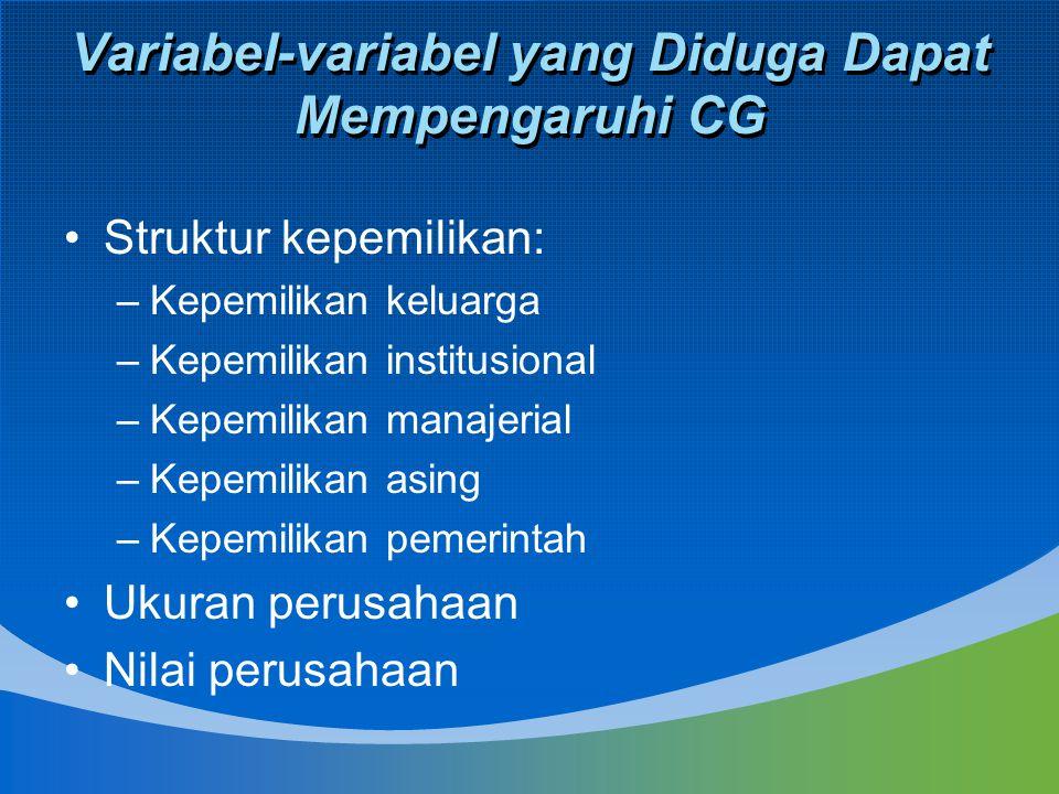 Variabel-variabel yang Diduga Dapat Mempengaruhi CG Struktur kepemilikan: –Kepemilikan keluarga –Kepemilikan institusional –Kepemilikan manajerial –Ke