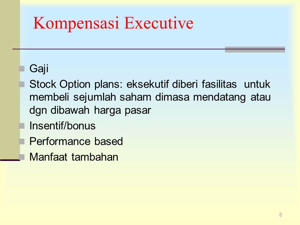 8 Kompensasi Executive Gaji Stock Option plans: eksekutif diberi fasilitas untuk membeli sejumlah saham dimasa mendatang atau dgn dibawah harga pasar