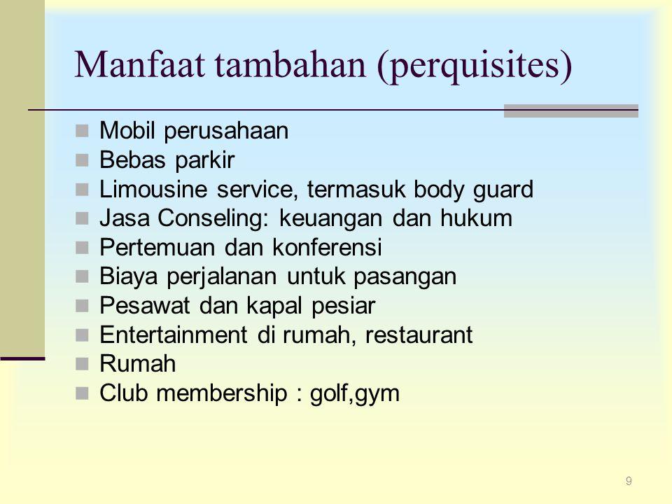 9 Manfaat tambahan (perquisites) Mobil perusahaan Bebas parkir Limousine service, termasuk body guard Jasa Conseling: keuangan dan hukum Pertemuan dan