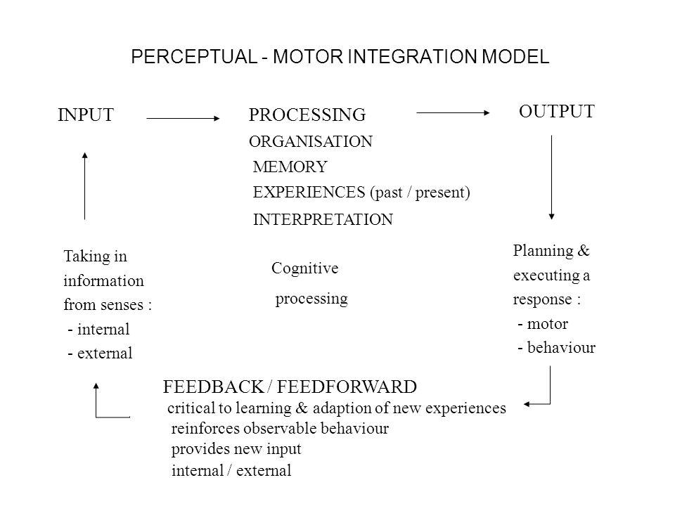 PERCEPTUAL - MOTOR INTEGRATION MODEL INPUT PROCESSING ORGANISATION MEMORY EXPERIENCES (past / present) INTERPRETATION OUTPUT Cognitive processing Taki