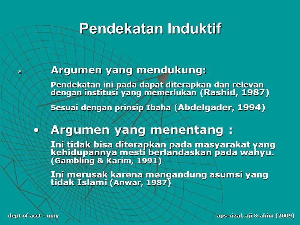 dept of acct - umy aps-rizal, aji & ahim (2009) Pendekatan Induktif Argumen yang mendukung: Argumen yang mendukung: Pendekatan ini pada dapat diterapk
