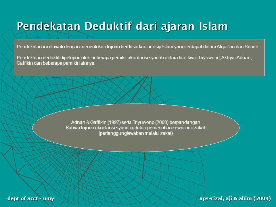 dept of acct - umy aps-rizal, aji & ahim (2009) Pendekatan Deduktif dari ajaran Islam Adnan & Gaffikin (1997) serta Triyuwono (2000) berpandangan Bahw