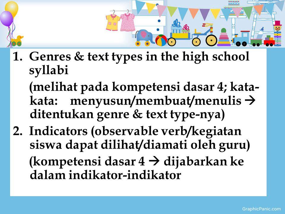 1.Genres & text types in the high school syllabi (melihat pada kompetensi dasar 4; kata- kata: menyusun/membuat/menulis  ditentukan genre & text type-nya) 2.