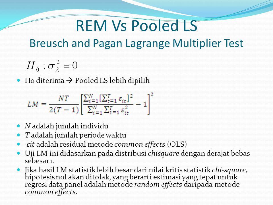 REM Vs Pooled LS Breusch and Pagan Lagrange Multiplier Test Ho diterima  Pooled LS lebih dipilih N adalah jumlah individu T adalah jumlah periode wak