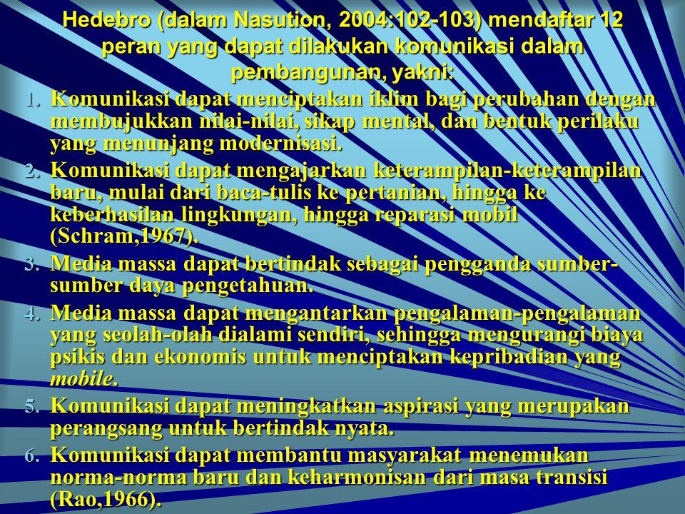 Hedebro (dalam Nasution, 2004:102-103) mendaftar 12 peran yang dapat dilakukan komunikasi dalam pembangunan, yakni: 1. K omunikasi dapat menciptakan i
