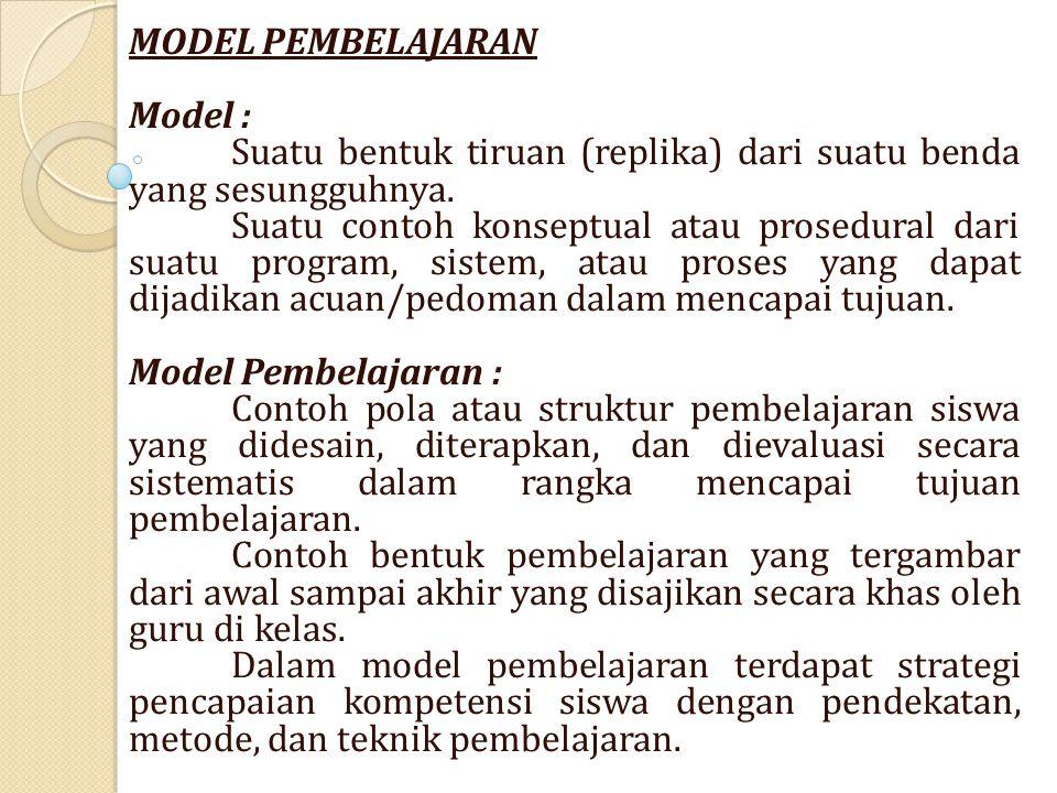 MODEL PEMBELAJARAN Model : Suatu bentuk tiruan (replika) dari suatu benda yang sesungguhnya.