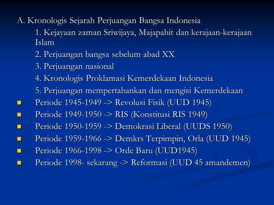 A. Kronologis Sejarah Perjuangan Bangsa Indonesia 1. Kejayaan zaman Sriwijaya, Majapahit dan kerajaan-kerajaan Islam 2. Perjuangan bangsa sebelum abad