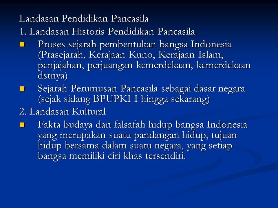 Landasan Pendidikan Pancasila 1. Landasan Historis Pendidikan Pancasila Proses sejarah pembentukan bangsa Indonesia (Prasejarah, Kerajaan Kuno, Keraja