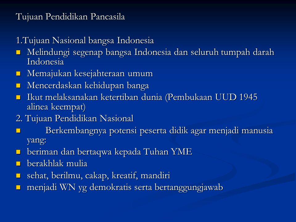 Tujuan Pendidikan Pancasila 1.Tujuan Nasional bangsa Indonesia Melindungi segenap bangsa Indonesia dan seluruh tumpah darah Indonesia Memajukan keseja