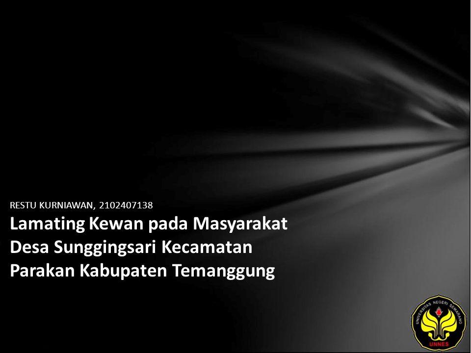 Identitas Mahasiswa - NAMA : RESTU KURNIAWAN - NIM : 2102407138 - PRODI : Pendidikan Bahasa, Sastra Indonesia, dan Daerah (Pendidikan Bahasa dan Sastra Jawa) - JURUSAN : Bahasa & Sastra Indonesia - FAKULTAS : Bahasa dan Seni - EMAIL : jangges_dancuk pada domain yahoo.com - PEMBIMBING 1 : Dra.