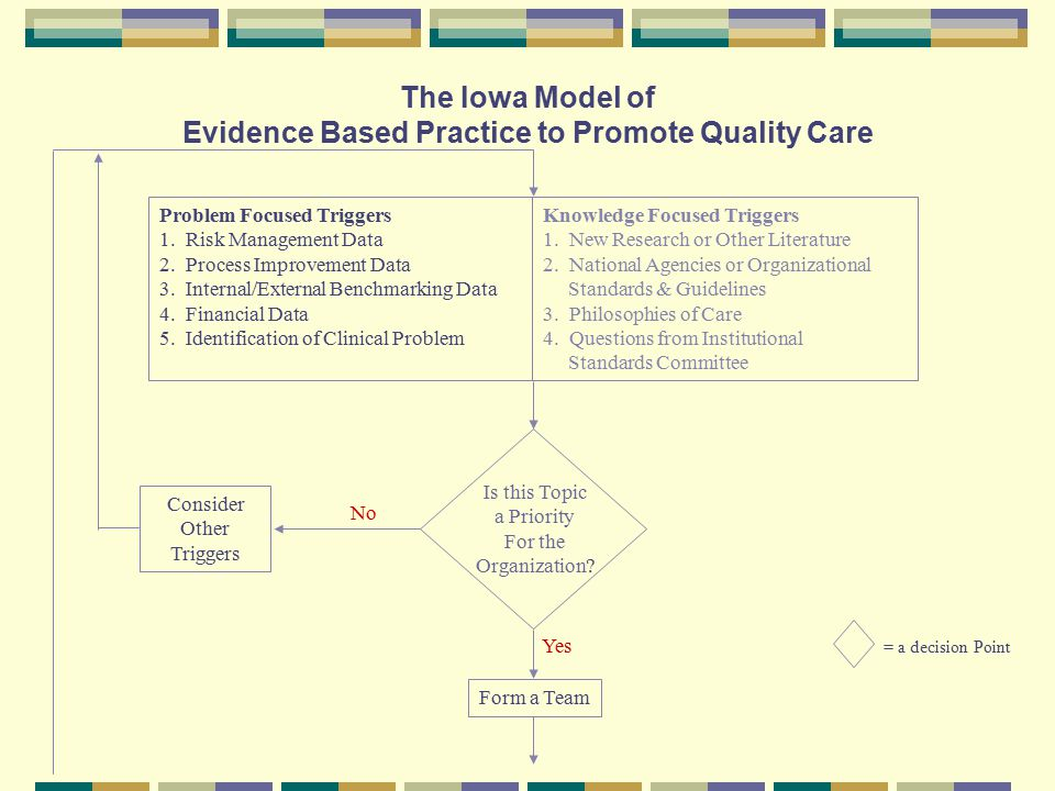 The Iowa Model of Evidence Based Practice to Promote Quality Care Problem Focused Triggers 1.