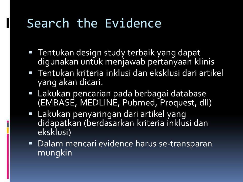 Search the Evidence  Tentukan design study terbaik yang dapat digunakan untuk menjawab pertanyaan klinis  Tentukan kriteria inklusi dan eksklusi dar