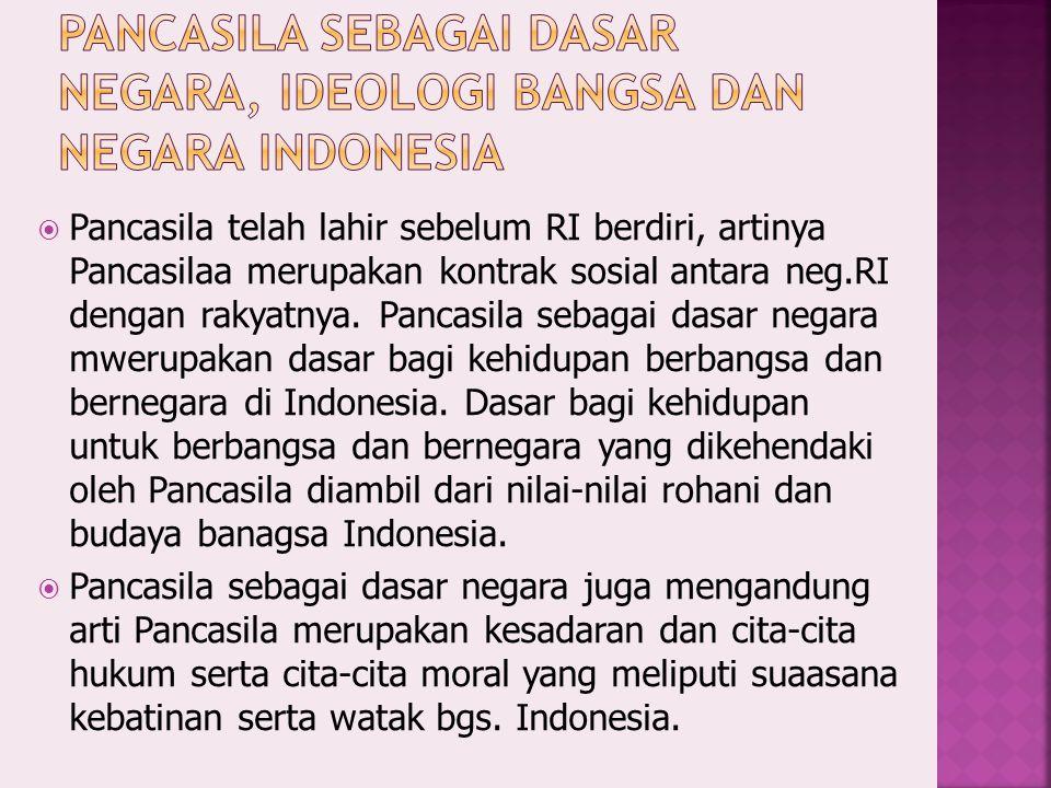  Pancasila telah lahir sebelum RI berdiri, artinya Pancasilaa merupakan kontrak sosial antara neg.RI dengan rakyatnya.