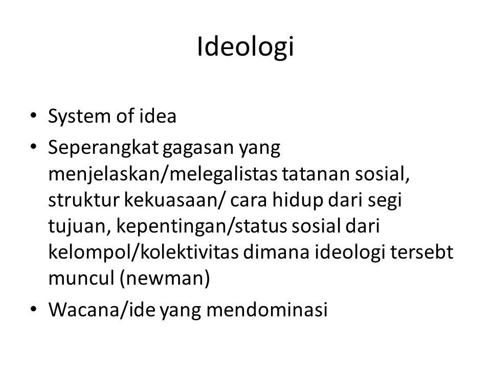 Ideologi System of idea Seperangkat gagasan yang menjelaskan/melegalistas tatanan sosial, struktur kekuasaan/ cara hidup dari segi tujuan, kepentingan