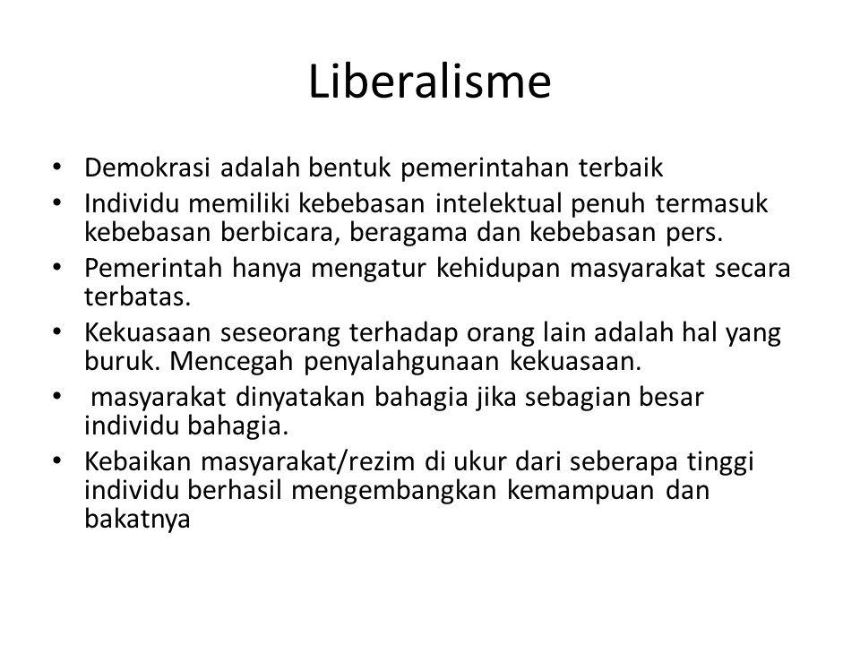 Liberalisme Demokrasi adalah bentuk pemerintahan terbaik Individu memiliki kebebasan intelektual penuh termasuk kebebasan berbicara, beragama dan kebe