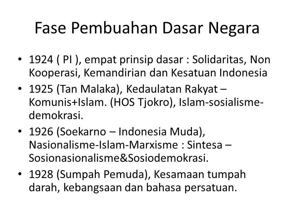 Fase Pembuahan Dasar Negara 1924 ( PI ), empat prinsip dasar : Solidaritas, Non Kooperasi, Kemandirian dan Kesatuan Indonesia 1925 (Tan Malaka), Kedau