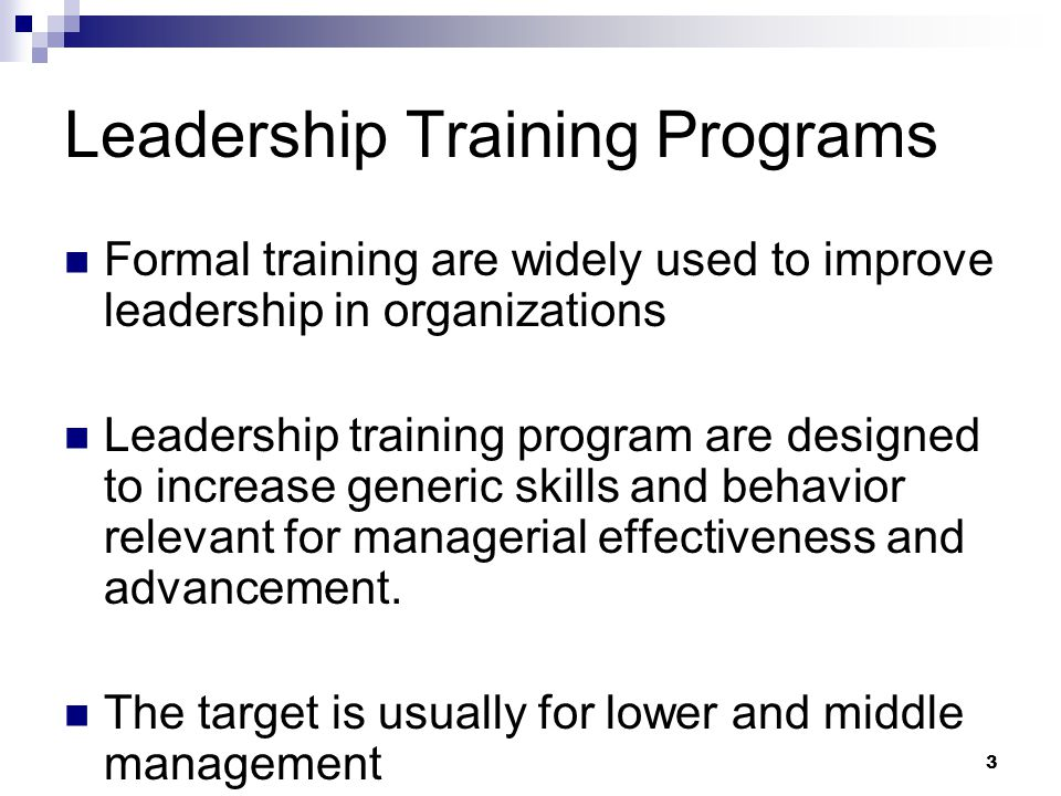 3 Leadership Training Programs Formal training are widely used to improve leadership in organizations Leadership training program are designed to increase generic skills and behavior relevant for managerial effectiveness and advancement.