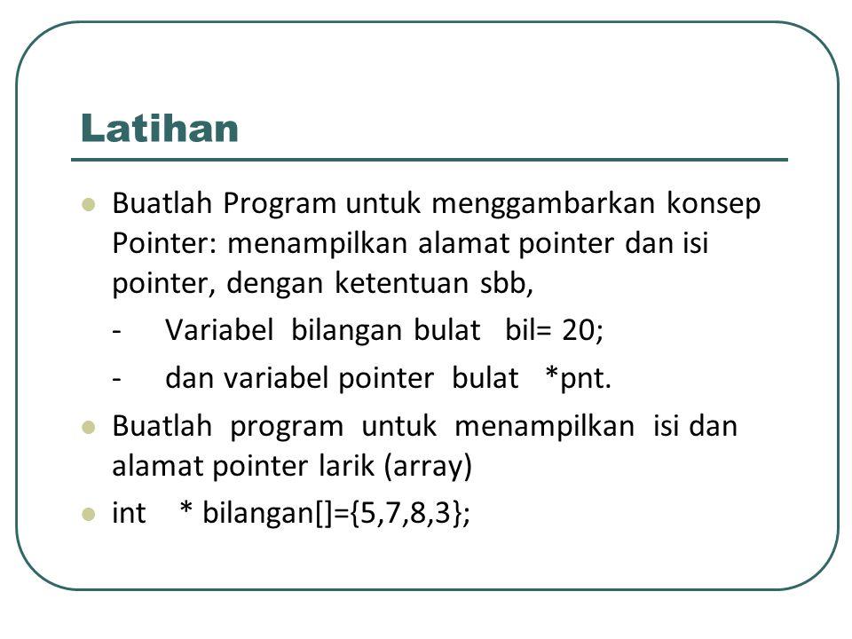 Latihan Buatlah Program untuk menggambarkan konsep Pointer: menampilkan alamat pointer dan isi pointer, dengan ketentuan sbb, -Variabel bilangan bulat