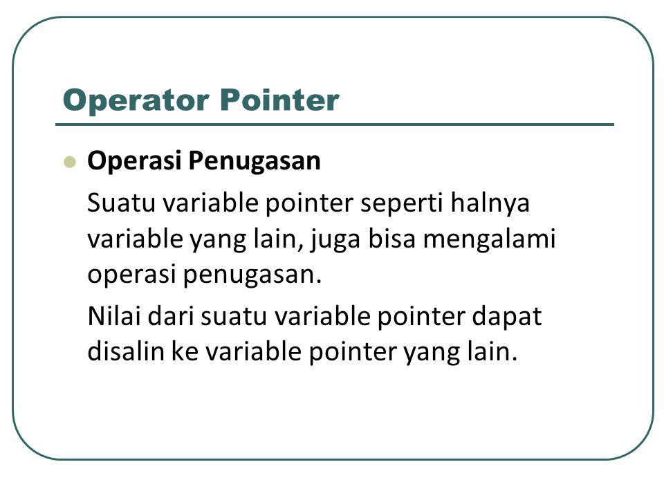 Operator Pointer Operasi Penugasan Suatu variable pointer seperti halnya variable yang lain, juga bisa mengalami operasi penugasan. Nilai dari suatu v