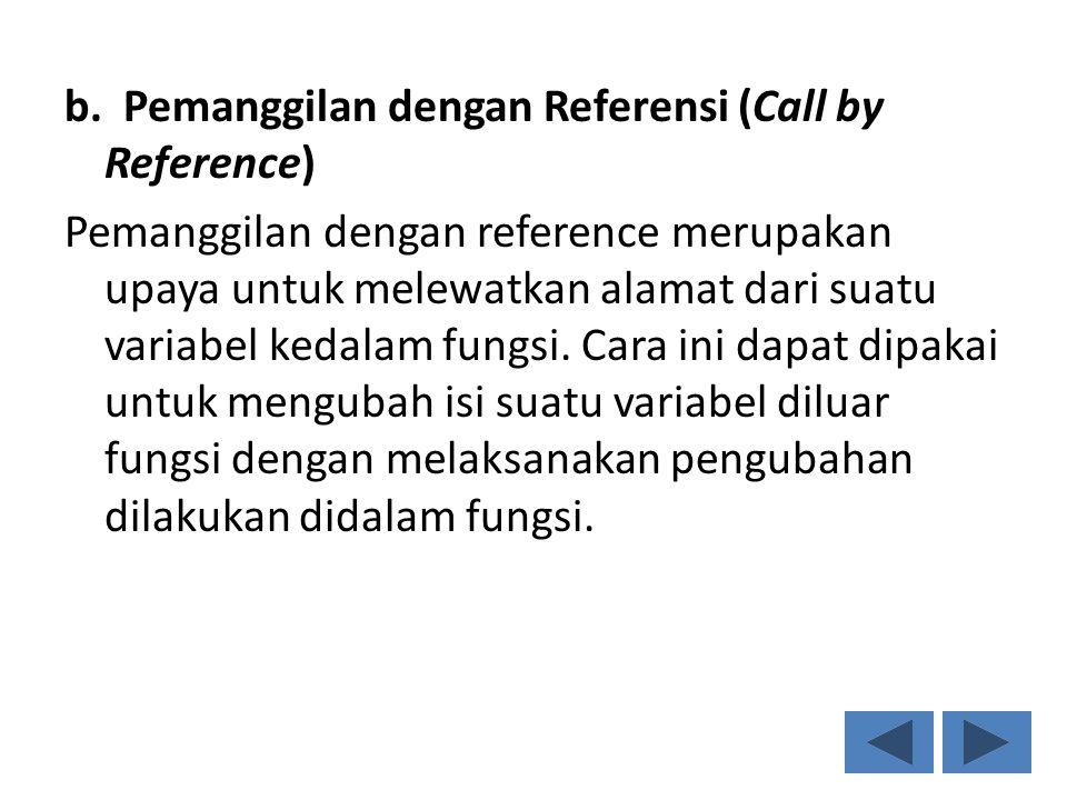 b. Pemanggilan dengan Referensi (Call by Reference) Pemanggilan dengan reference merupakan upaya untuk melewatkan alamat dari suatu variabel kedalam f