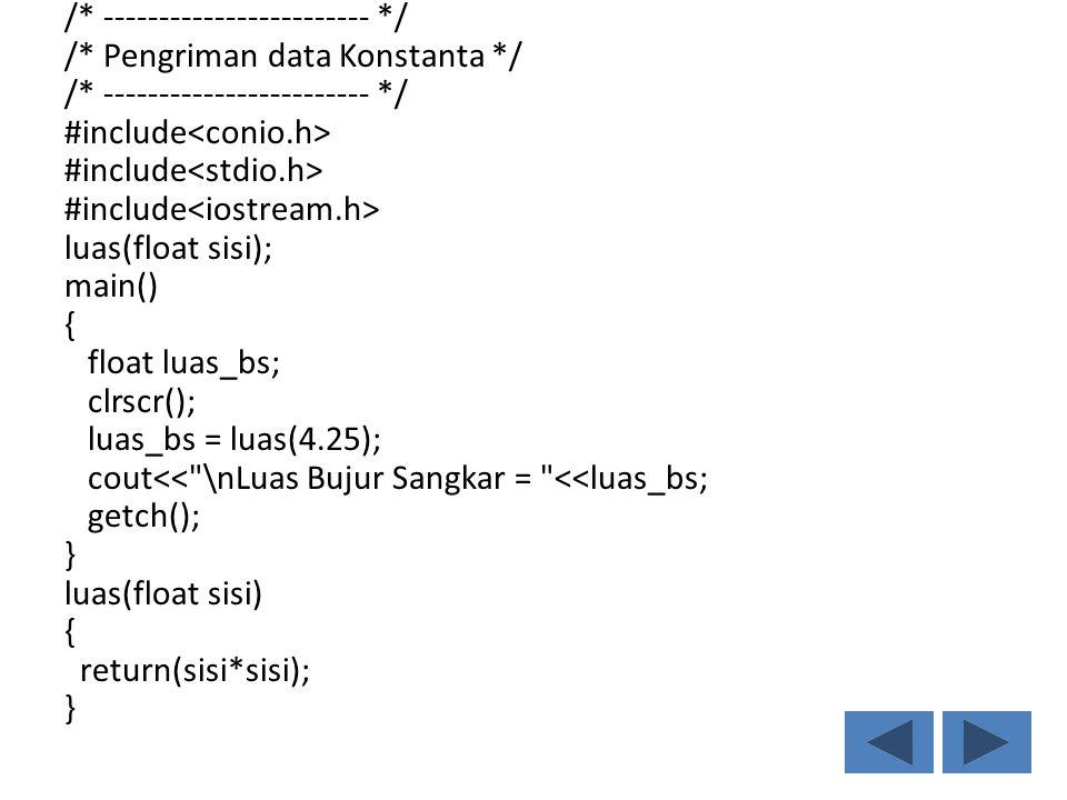 /* ------------------------ */ /* Pengriman data Konstanta */ /* ------------------------ */ #include luas(float sisi); main() { float luas_bs; clrscr(); luas_bs = luas(4.25); cout<< \nLuas Bujur Sangkar = <<luas_bs; getch(); } luas(float sisi) { return(sisi*sisi); }