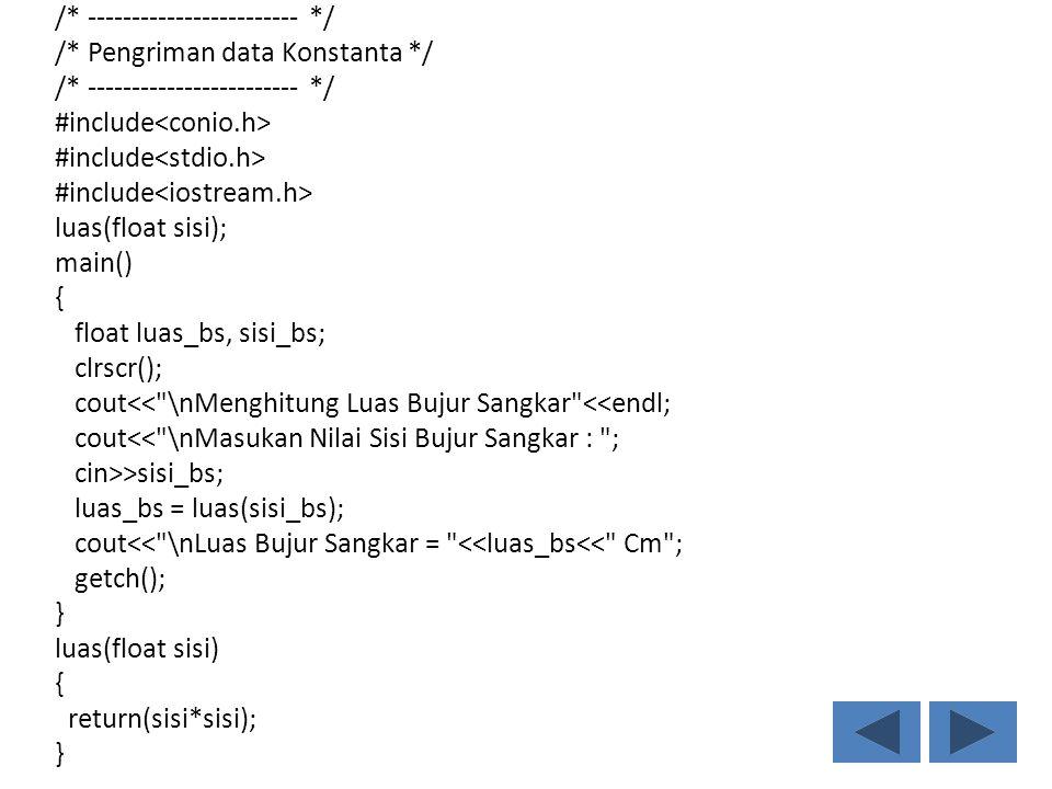 /* ------------------------ */ /* Pengriman data Konstanta */ /* ------------------------ */ #include luas(float sisi); main() { float luas_bs, sisi_bs; clrscr(); cout<< \nMenghitung Luas Bujur Sangkar <<endl; cout<< \nMasukan Nilai Sisi Bujur Sangkar : ; cin>>sisi_bs; luas_bs = luas(sisi_bs); cout<< \nLuas Bujur Sangkar = <<luas_bs<< Cm ; getch(); } luas(float sisi) { return(sisi*sisi); }