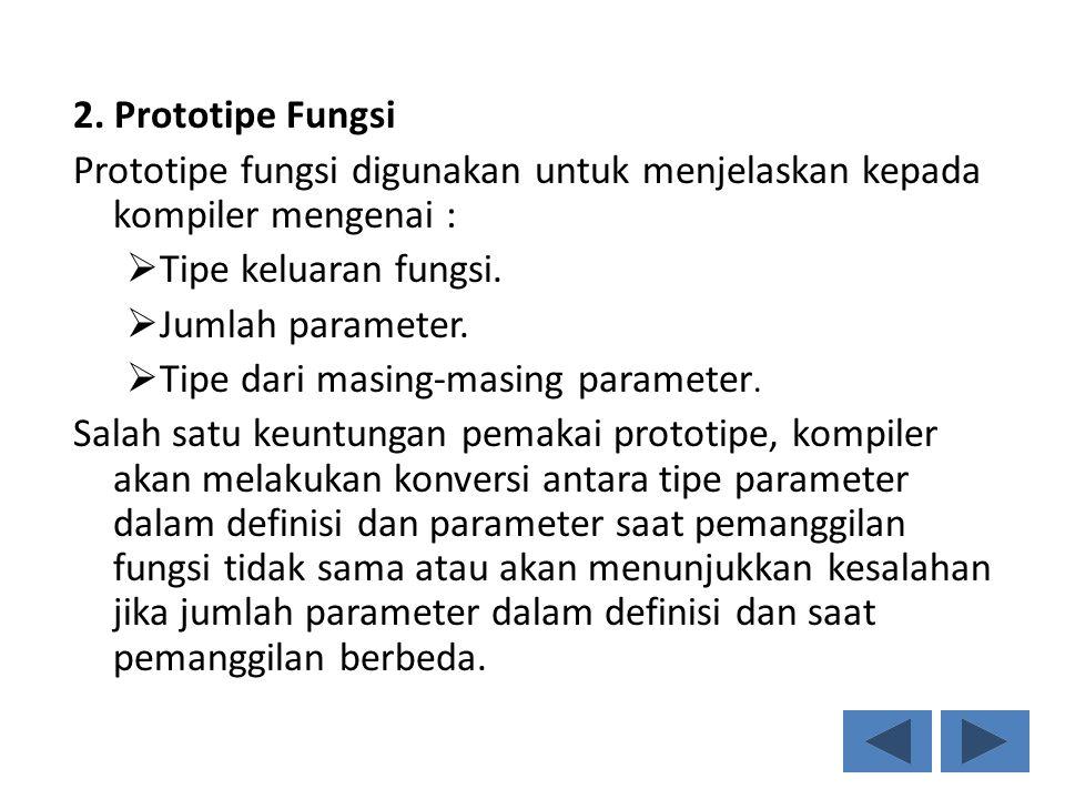 2. Prototipe Fungsi Prototipe fungsi digunakan untuk menjelaskan kepada kompiler mengenai :  Tipe keluaran fungsi.  Jumlah parameter.  Tipe dari ma