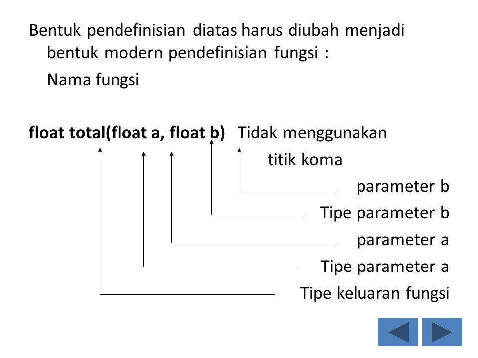 Bentuk pendefinisian diatas harus diubah menjadi bentuk modern pendefinisian fungsi : Nama fungsi float total(float a, float b) Tidak menggunakan titi