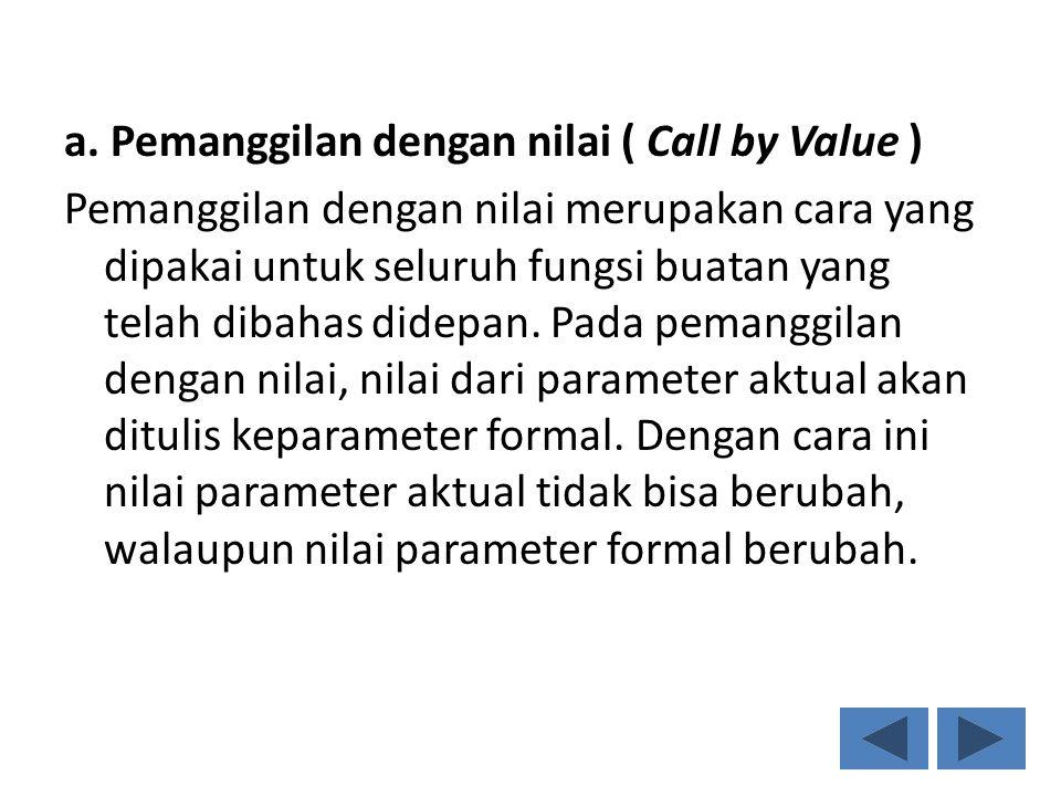 a. Pemanggilan dengan nilai ( Call by Value ) Pemanggilan dengan nilai merupakan cara yang dipakai untuk seluruh fungsi buatan yang telah dibahas dide