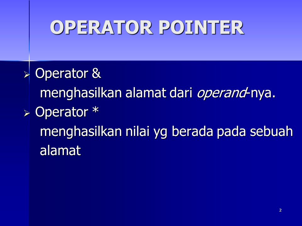 13 PEMBERIAN NILAI ARRAY DGN POINTER //Contoh Program7 #include #include void main(){ int x[5], *p, k; clrscr(); p = x; x[0] = 5; x[1] = x[0]; /* x[1] diisi dengan x[0] sehingga x[1] = 5 */ x[2] = *p + 2; /* x[2] diisi dengan x[0] + 2 sehingga x[2] = 7 */ x[3] = *(p+1)-3; /* x[3] diisi dengan x[1] - 3 sehingga x[3] = 2 */ //x[4] = *(x + 2); /* x[4] diisi dengan x[2] sehingga x[4] = 7 */ x[4]=*(p+2)-1; for(k=0; k<5; k++) cout<< \nx[ <<k<< ] = << x[k]; getch(); }