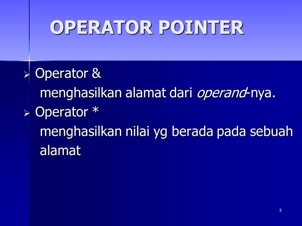 3  Deklarasi Pointer  Tipedata *nama_pointer;  Tipedata *nama_pointer; Tipedata mendefinisikan tipe dari objek yg ditunjuk oleh pointer.
