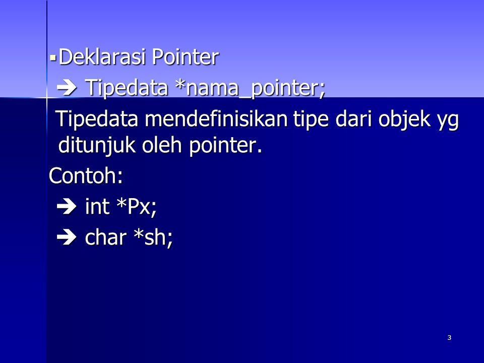 4 Contoh program1 #include #include void main() { int x, y; // x dan y bertipe int int *px; // px pointer yang menunjuk objek clrscr();