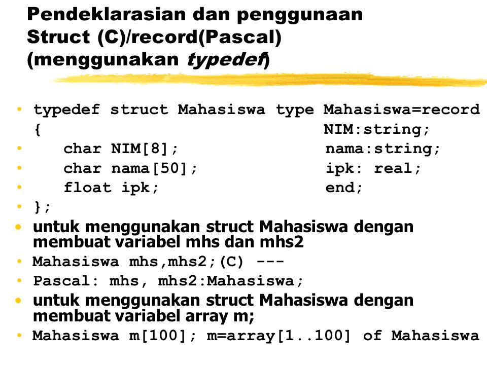 Pendeklarasian dan penggunaan Struct (C)/record(Pascal) (menggunakan typedef) typedef struct Mahasiswa type Mahasiswa=record { NIM:string; char NIM[8]