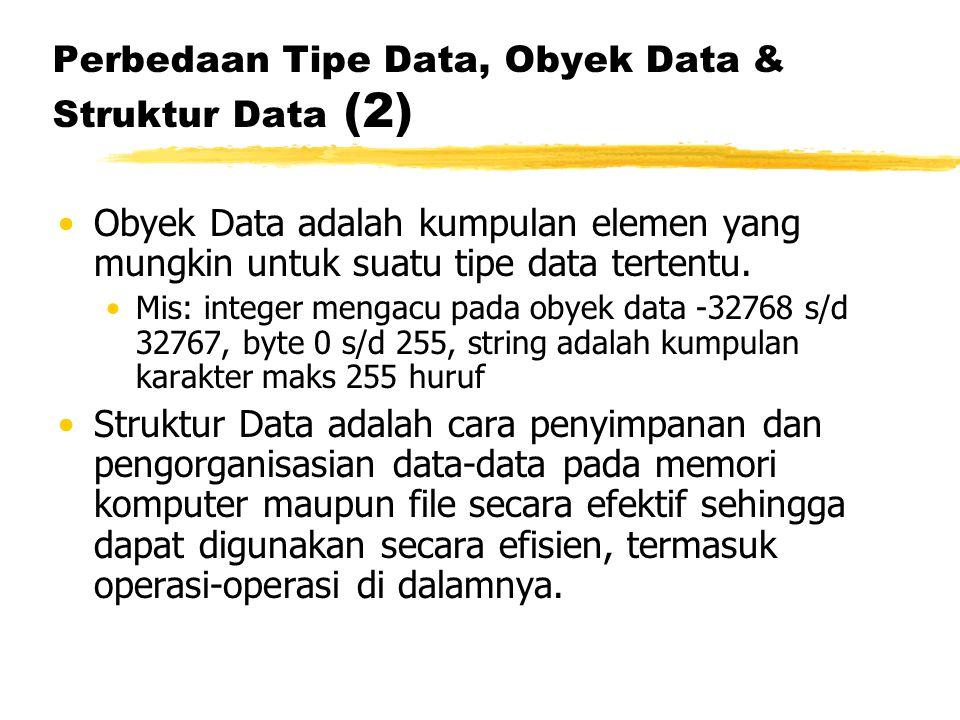 Perbedaan Tipe Data, Obyek Data & Struktur Data (2) Obyek Data adalah kumpulan elemen yang mungkin untuk suatu tipe data tertentu. Mis: integer mengac