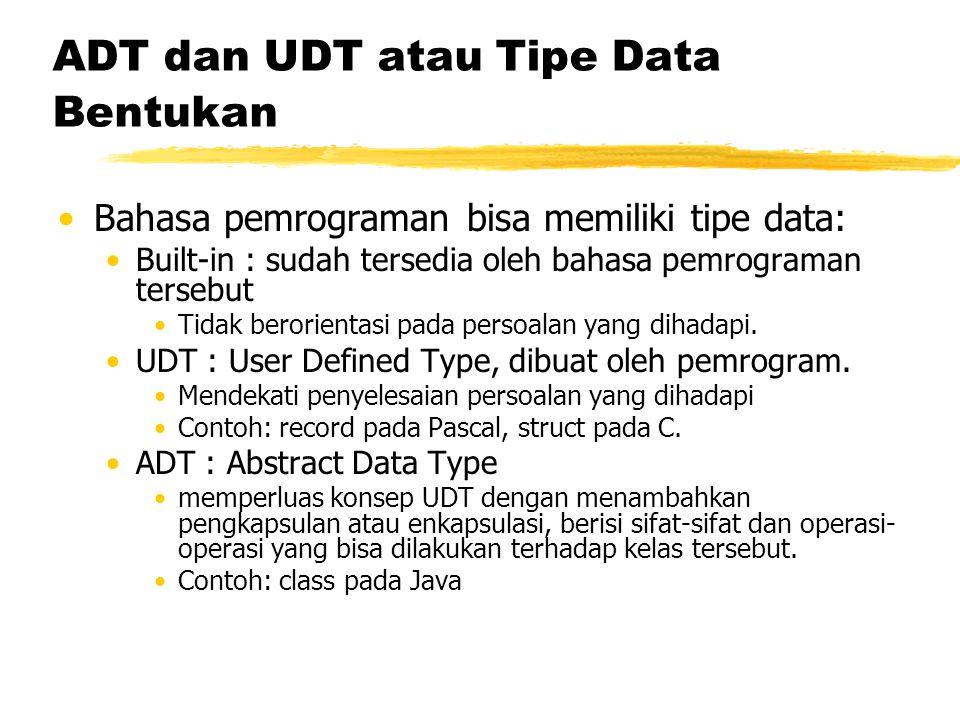 ADT dan UDT atau Tipe Data Bentukan Bahasa pemrograman bisa memiliki tipe data: Built-in : sudah tersedia oleh bahasa pemrograman tersebut Tidak beror