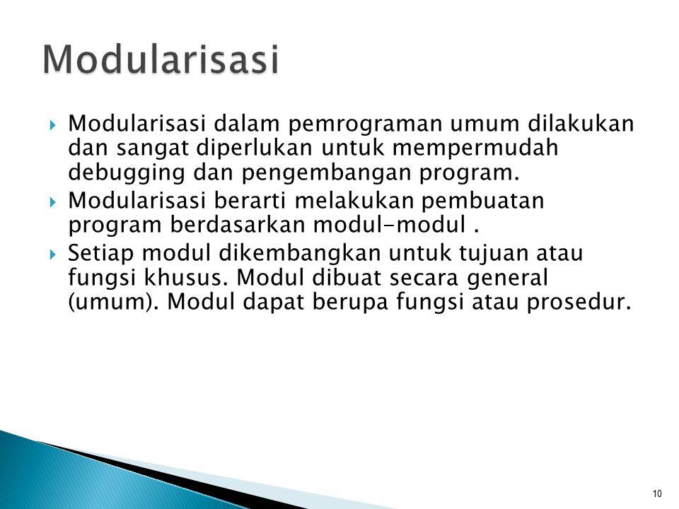  Modularisasi dalam pemrograman umum dilakukan dan sangat diperlukan untuk mempermudah debugging dan pengembangan program.  Modularisasi berarti mel