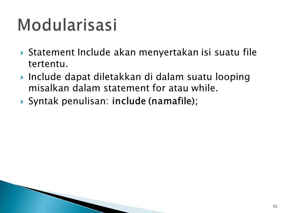  Statement Include akan menyertakan isi suatu file tertentu.  Include dapat diletakkan di dalam suatu looping misalkan dalam statement for atau whil