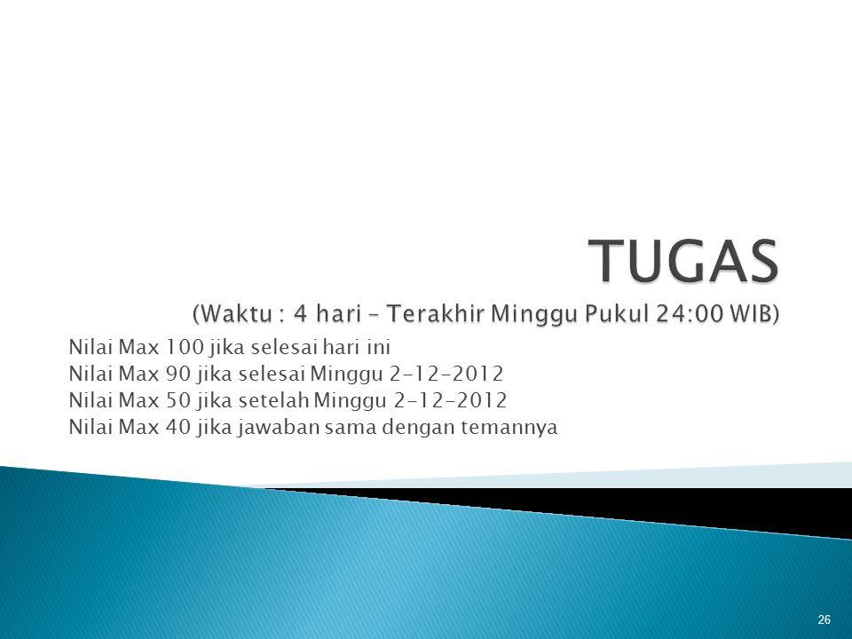 Nilai Max 100 jika selesai hari ini Nilai Max 90 jika selesai Minggu 2-12-2012 Nilai Max 50 jika setelah Minggu 2-12-2012 Nilai Max 40 jika jawaban sa