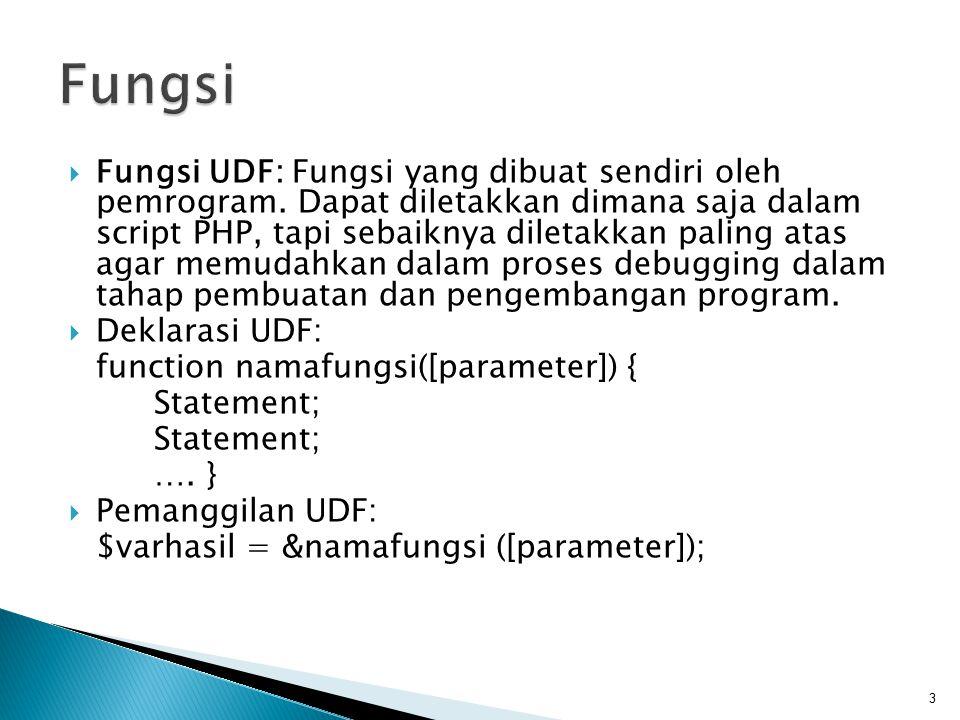  Fungsi UDF: Fungsi yang dibuat sendiri oleh pemrogram. Dapat diletakkan dimana saja dalam script PHP, tapi sebaiknya diletakkan paling atas agar mem