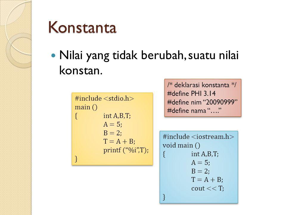 "Konstanta Nilai yang tidak berubah, suatu nilai konstan. #include main () { int A,B,T; A = 5; B = 2; T = A + B; printf (""%i"",T); } #include main () {"