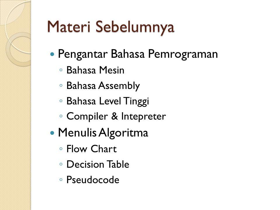 Materi Sebelumnya Pengantar Bahasa Pemrograman ◦ Bahasa Mesin ◦ Bahasa Assembly ◦ Bahasa Level Tinggi ◦ Compiler & Intepreter Menulis Algoritma ◦ Flow