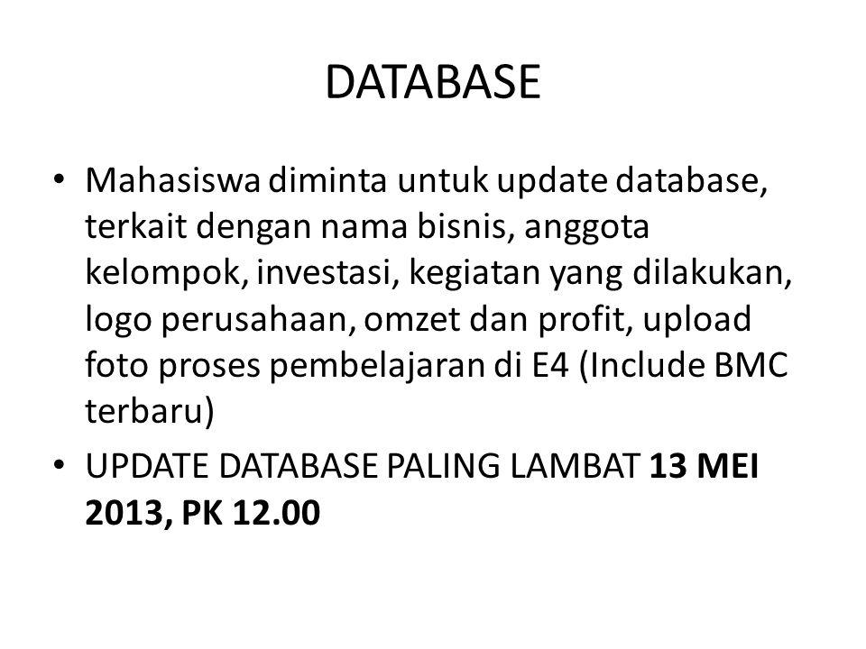 DATABASE Mahasiswa diminta untuk update database, terkait dengan nama bisnis, anggota kelompok, investasi, kegiatan yang dilakukan, logo perusahaan, omzet dan profit, upload foto proses pembelajaran di E4 (Include BMC terbaru) UPDATE DATABASE PALING LAMBAT 13 MEI 2013, PK 12.00