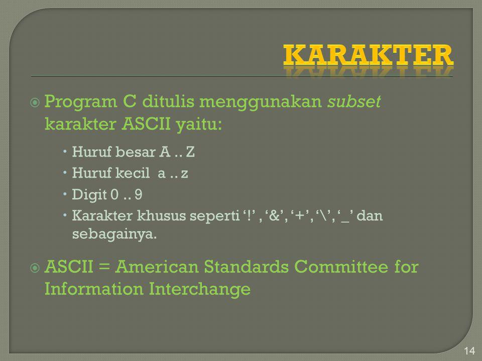  Program C ditulis menggunakan subset karakter ASCII yaitu:  Huruf besar A.. Z  Huruf kecil a.. z  Digit 0.. 9  Karakter khusus seperti '!', '&',