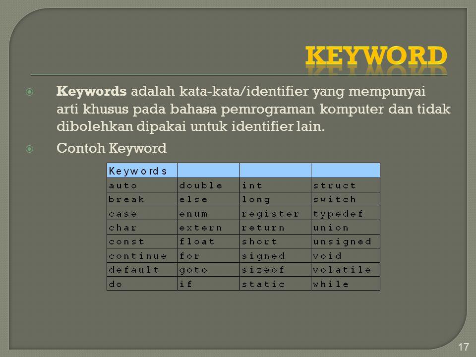  Keywords adalah kata-kata/identifier yang mempunyai arti khusus pada bahasa pemrograman komputer dan tidak dibolehkan dipakai untuk identifier lain.