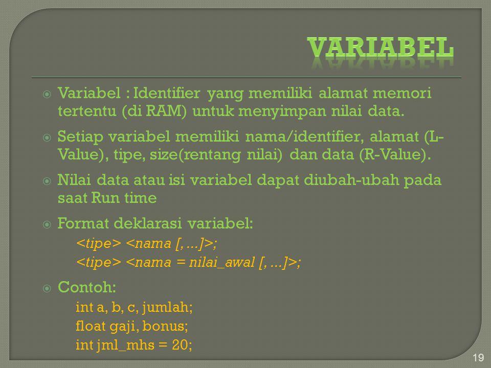  Variabel : Identifier yang memiliki alamat memori tertentu (di RAM) untuk menyimpan nilai data.  Setiap variabel memiliki nama/identifier, alamat (