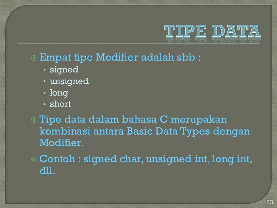  Empat tipe Modifier adalah sbb : signed unsigned long short  Tipe data dalam bahasa C merupakan kombinasi antara Basic Data Types dengan Modifier.