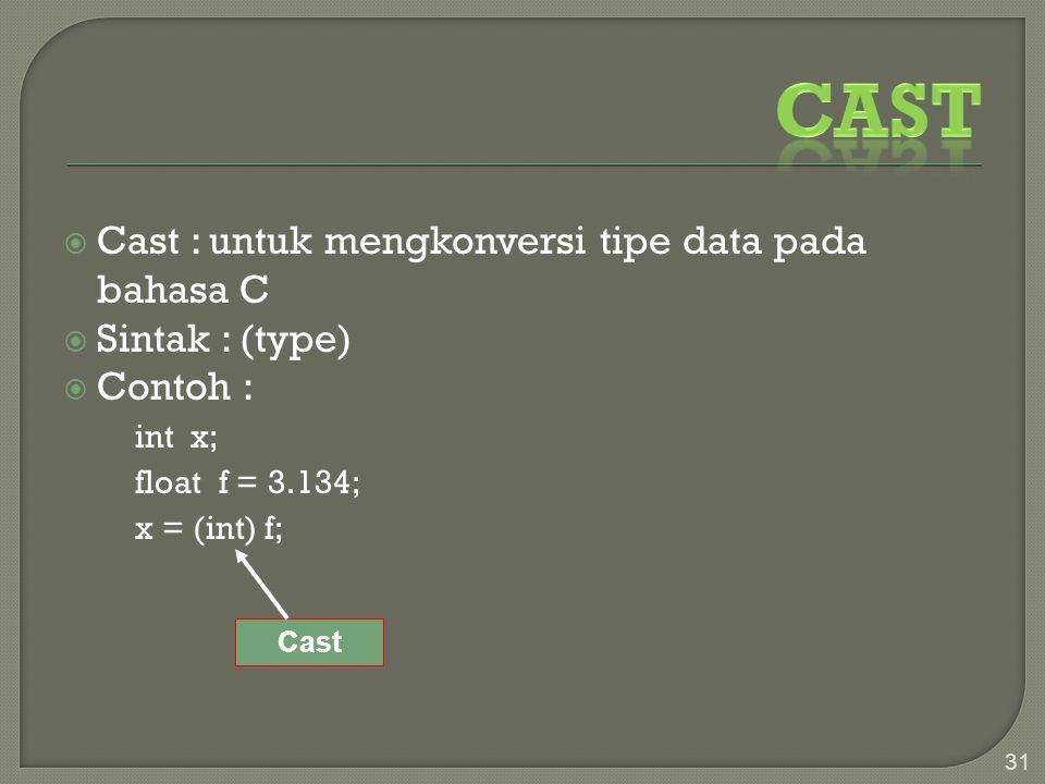  Cast : untuk mengkonversi tipe data pada bahasa C  Sintak : (type)  Contoh : int x; float f = 3.134; x = (int) f; 31 Cast