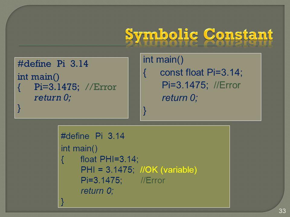 #define Pi 3.14 int main() {Pi=3.1475; //Error return 0; } 33 int main() {const float Pi=3.14; Pi=3.1475; //Error return 0; } #define Pi 3.14 int main() { float PHI=3.14; PHI = 3.1475; //OK (variable) Pi=3.1475; //Error return 0; }