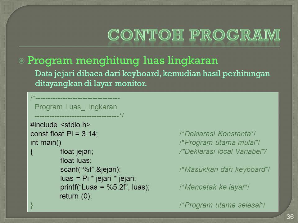  Program menghitung luas lingkaran Data jejari dibaca dari keyboard, kemudian hasil perhitungan ditayangkan di layar monitor. 36 /*------------------